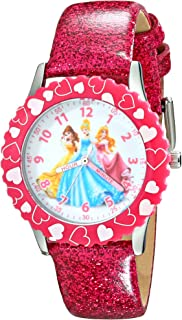 Kids' W001801 Princess Stainless Steel Watch with Pink Glitter Faux Leather Band
