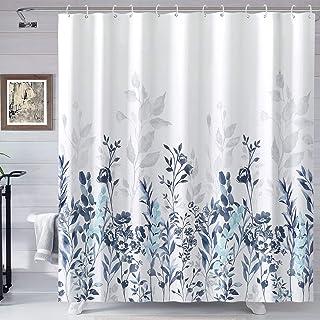 پرده دوش آبی و خاکستری Neasow ، پرده حمام گل آبرنگ گل و پرده دوش سفید 72 × 72 اینچ
