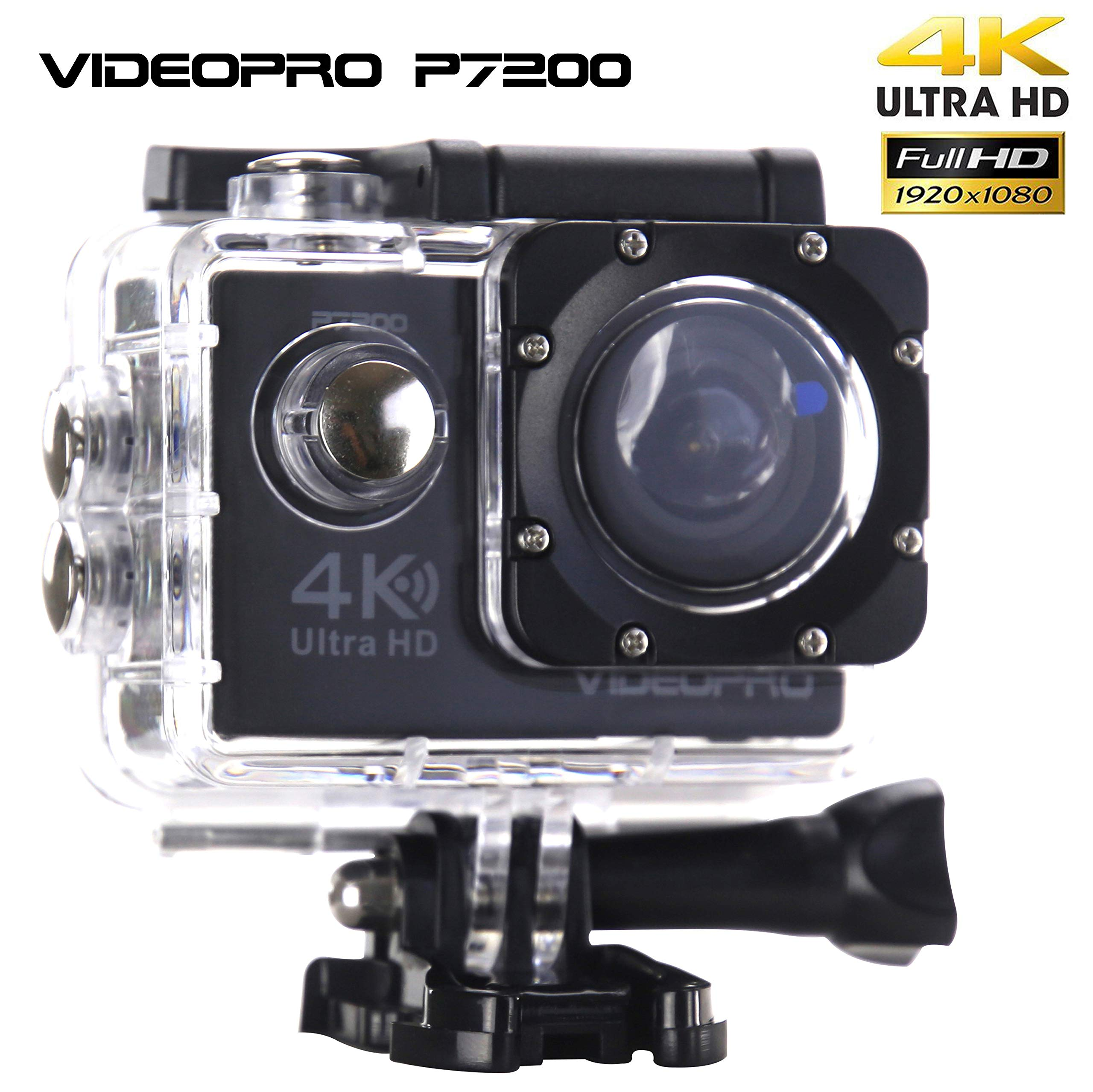 VIDEOPRO 水下HD Camera 4K WiFi Sports Camera Waterproof DV Camcorder 16MP 2 inch 液晶显示 黑色