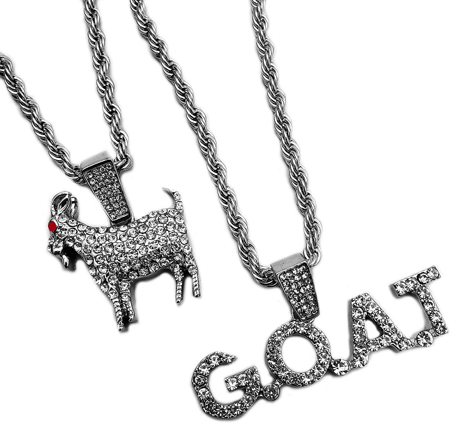 BLINGFACTORY Hip Hop Iced White Gold Plated Goat & G.O.A.T Pendant & 4mm 24