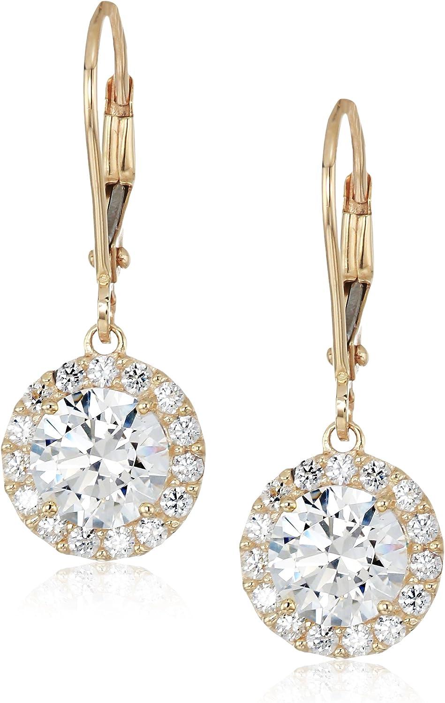 Amazon Collection Women's 10K Gold Swarovski Zirconia Clear Round Halo Leverback Earrings