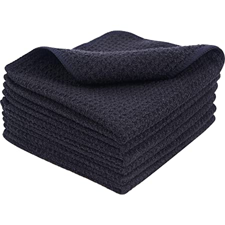 KinHwa Microfiber Dish Cloths Thick Waffle Weave Kitchen Dish Rags Ultra Absorbent Dishcloths 12inch x 12inch 6 Pack Black