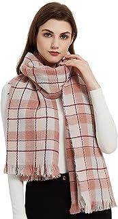 Sponsored Ad - Winhot Women's Pink Plaid Scarf, Fashion Cozy Scarf Winter Thick Soft Warm Stylish Large Warm Blanket Scarv...