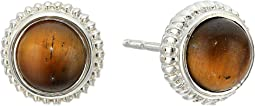 Sterling Silver Coin Edge Studs w/ Tiger's Eye Earrings