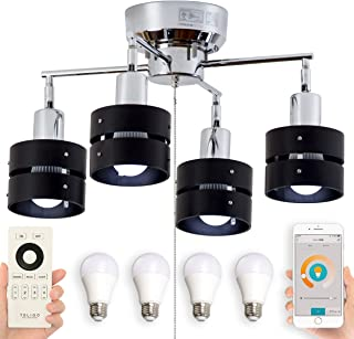 BELLED スマホ・リモコン対応 調光調色 LED電球 リモコン付き シーリングライト 4灯 レダカイ リモートセット 6畳 照明器具 おしゃれ 木枠 (TOLIGO電球:リモコン:ブラック)
