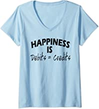 Womens Happiness is Debits Equals Credits Accountant Gift V-Neck T-Shirt