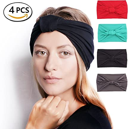 Headbands for Men and Women Elastic Turban Head Wrap Twisted Hair Bands Multi-Style Headband. Perfect for Yoga or Fashion, Workout or Travel.