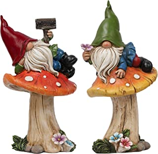 TERESA'S COLLECTIONS Garden Gnome Statues, Set of 2 Outdoor Lawn Gnomes Laying On The Mushrooms, Funny Welcome Sign Garden...