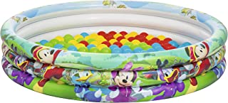 Bestway-91028 Mouse and The Roadster Racers Bestway Inflatables 6942138910247 Piscina Mickey Hinchable 75 Bolas, Multicolor, 122 x 25 cm (18888