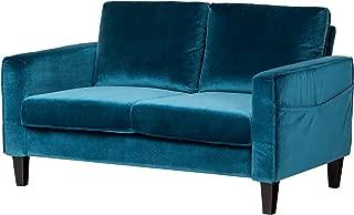 South Shore Loveseat Fabric Sofa, 2-Seat, Velvet Blue