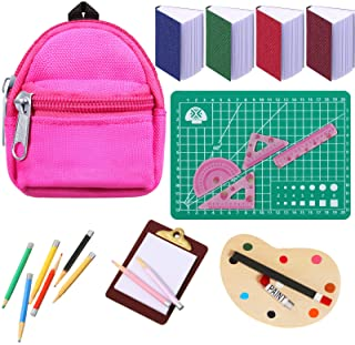 20 Pieces Dollhouse School Accessories Set, Mini Doll Zipper Backpack Doll Books Doll Palette Miniature Paper Clipboard Pe...