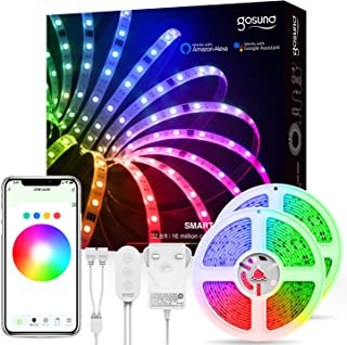 Smart LED Strip Lights, Gosund 10M(32.8Ft) RGB Color Changing Light Kits, Works with Alexa and Google Home for Bedroom Kitchen Cupboard Decoration with Bright 5050 LEDs, Strong 3M Type 2PCS x 5M