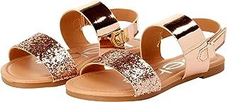 bebe Girls' Sandal – Two Strapped Open Toe Glitter Leatherette Sandals with Heel Strap (Toddler/Little Kid)