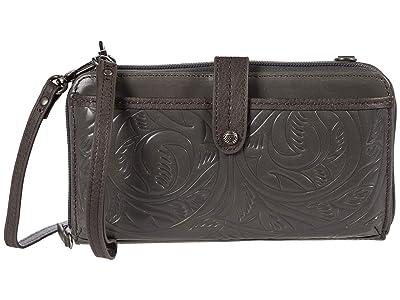 The Sak Iris Large Smartphone Crossbody (Slate Leaf Embossed) Cross Body Handbags