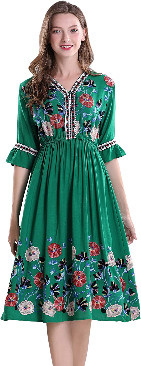 Women's Short Sleeve Mexican Embroidered Floral Pleated Midi A-line Cocktail Dress