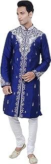 Rajwada Ethnic Indian Designer Royal Blue Kurta Sherwani for Men 2pc Suit