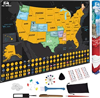 Fox Ramble Scratch off Map of the United States - Gold USA Scratch Map Poster and Accessories Reveal Colorful U.S. States, National Parks, Landmarks, Flags and Makes Great Travel Gifts, 17 x 24 in.