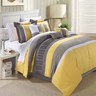 Chic Home Euphoria 12-Piece Embroidered Comforter Set Embroidery Pattern Bedding with Sheet Set Bed Skirt and Decorative Pillows Shams, Queen Yellow Grey