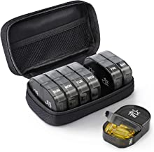 AUVON Canvas Bag Weekly Pill Organizer 2 Times a Day, Large AM/PM Pill Box 7 Day with Portable Zipper Cloth Bag for Holding Supplements, Vitamins and Fish Oils (Black)