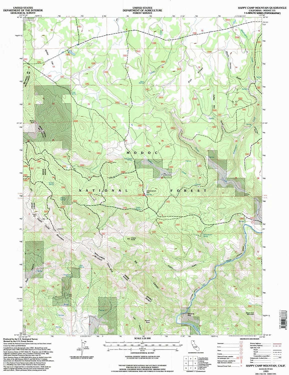 Happy Camp Mountain CA topo map, 1 24000 Scale, 7.5 X 7.5 Minute, Historical, 1993, Updated 1996, 26.8 x 21.4 in