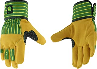 West Chester John Deere JD00024 Split Cowhide Leather Gloves - [1 Pair] Youth Size, Lined Palm, Rubberized Cuff, Winged Th...