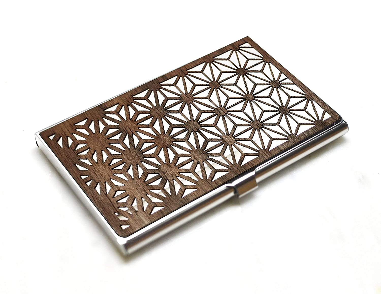 Wood Outlet sale feature business card holder Floral Geometric New Free Shipping - case