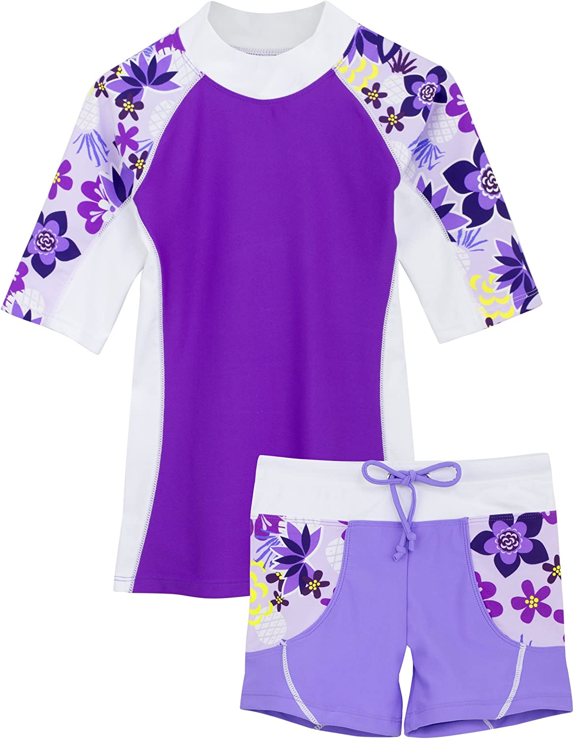 Girls Two-Piece Swimwear Short-Sleeved Shirt and Shorts Swimsuit Sun Protection 50+