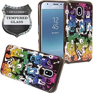 Z-GEN - Galaxy J3 2018 J3 Star/Achieve/Aura/Orbit, Sol3, Express Prime 3, Amp Prime 3, J3 V J3V 3rd Gen J337 - Hybrid Image Case for Samsung + Tempered Glass Screen Protector - AD1 Scrawl
