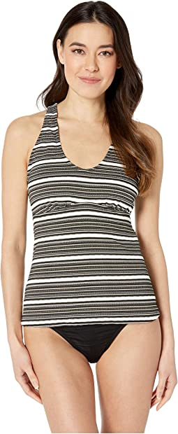 Luxe Gold Stripe Over the Shoulder Back Strapping Tankini Top