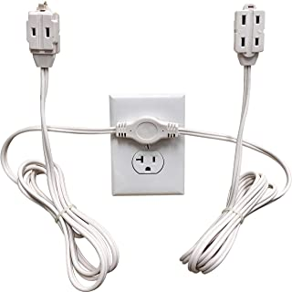 Twin Extension Cord Power Strip - 12 Foot Cord - 6 feet on Each Side - Flat Head (Wall Hugger) Outlet Plug - 6 Polarized O...