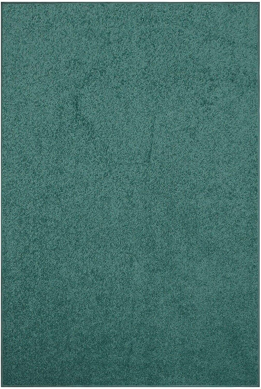 Modern Plush Solid 新作アイテム毎日更新 Color Rug - Teal 2' 新色 Frien 6' Kids and Pet x