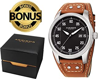 Akribos XXIV Men's Classic Watch AK1024 Series - Strong Casing with a Comfortable Genuine Leather Cuff Strap - Packed in a Beautiful Gift Ready Box