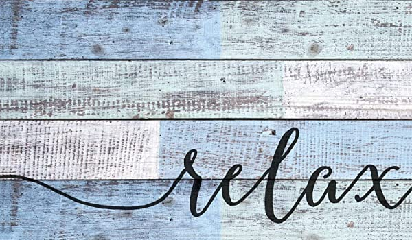 P Graham Dunn Relax Distressed Blue And White Design 14 X 24 Wood Pallet Wall Art Sign Plaque