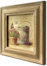 CVHOMEDECO. Primitive Vintage Hand Painted Wooden Frame Wall Hanging 3D Painting Landscape Art Décor, Plant and Watering D...
