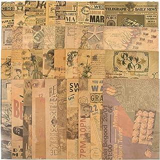 40Feuilles Papier Bullet Journal Vintage Scrapbooking Papeterie Craft Décoratifs Rétro DIY Album Photo Décoration pour Art...