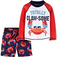 Child of Mine by Carters Long Sleeve Rash Guard 2-Piece Swim Set Red Crabs