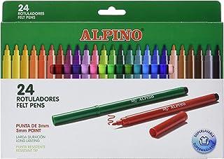 Rotuladores Alpino Coloring para Niños - Estuche de 24 Colores con Punta Fina 3mm - Tinta Lavable - Perfecto para Manualid...