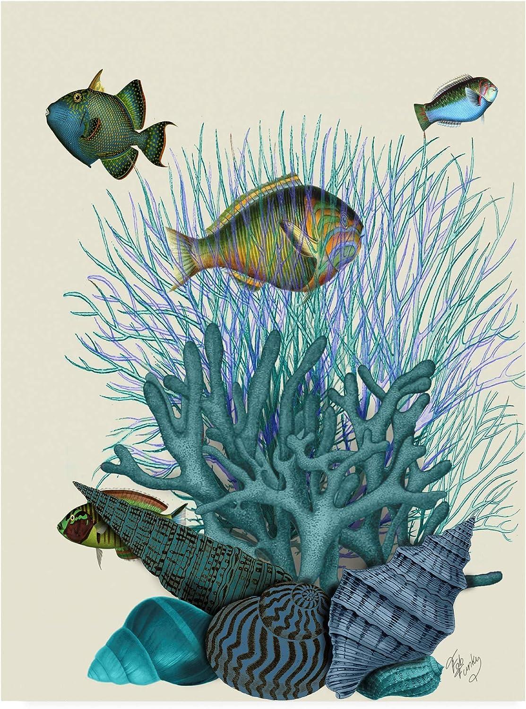Trademark Fine Dallas Mall Art Fish Blue Shells Funky by 24x Super intense SALE Corals Fab and