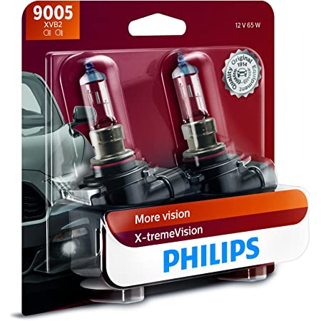 Philips Automotive Lighting 9005 X-tremeVision Upgrade Headlight Bulb with up to 100% More Vision, 2 Pack, 9005XVB2