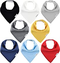 TheAZBaby Baby Bandana Drool Bibs for Boys and Girls, Organic, Plain colors, Unisex 8..
