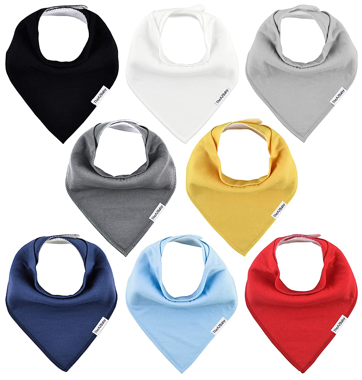 TheAZBaby Baby Bandana Drool Bibs for Boys and Girls, Organic, Plain Colors, Unisex 8 Pack Baby Shower Gift Set for Teething and Drooling, Soft Absorbent and Hypoallergenic (Solid Colors)