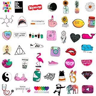 SAVITA 46pcs Water Bottle Stickers Waterproof Vinyl, Cute Trendy Stickers Decals for Laptop, Phone, Car, Skateboard, Bicycle, Motorcycle, Travel Suitcase Decoration - for Teens and Adults Favor