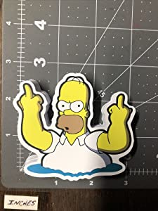 Waterproof Stickers Middle Finger Homer Simpson The Simpsons Skateboard Guitar Laptop Decal/ Sticker (Vinyl Decals for Skateboard Laptop Car Bumper Water Bottle, for Adult Teens Kids Room)