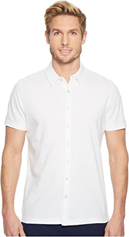 Perry Ellis Short Sleeve Stretch Solid Jacquard Shirt