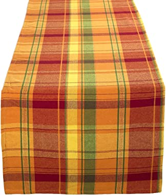 """Fennco Styles Harvest Plaid Design Cotton Terracotta Table Runner 16"""" W x 36"""" L for Home, Dining Table Decor, Banquets, Holid"""