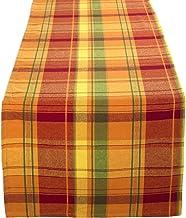 Fennco Styles – Mesa de terracota de algodão com design xadrez para colher, 40,64 cm L x 91,44 cm C para casa, decoração d...