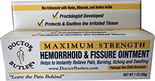 Doctor Butler`s Hemorrhoid & Fissure Ointment with Lidocaine and Other FDA Approved Ingredients for Treatment and Relief of Pain, Itching & Swelling + Herbs, Minerals, Amino Acids and Essential Oils