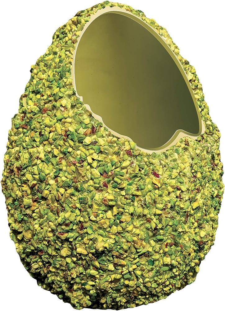 Passioni golose,uovo di pasqua al cioccolato bianco, granellato al pistacchio, 350gr