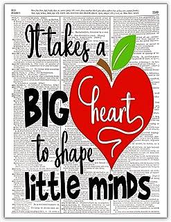 It Takes a Big Heart, Teacher Appreciation Week, Dictionary Page Photo Art Print, 8x10 Unframed