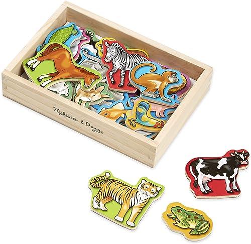 Melissa Doug Set de 20 Imanes de Animales en Caja, Juguete de Madera, Juguete de Desarrollo, Genérico